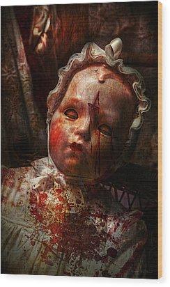 Creepy - Doll - It's Best To Let Them Sleep  Wood Print by Mike Savad