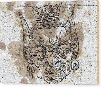 Creepy Mask Wood Print by Alice Gipson