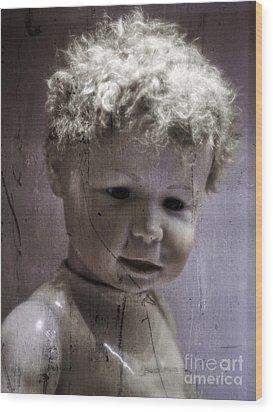 Creepy Old Doll Wood Print by Edward Fielding