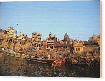 Cremation Ghat Of Varanasi Wood Print by Money Sharma