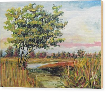 Crepe Myrtle In The Wetlands Wood Print by Jim Phillips