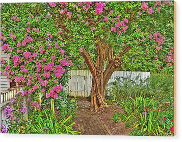 Wood Print featuring the photograph Crepe Myrtle In Wiliamsburg Garden by Jerry Gammon
