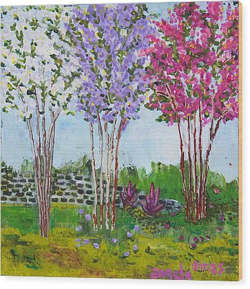 Crepe Myrtles Wood Print by Angela Annas