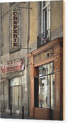 Creperie In Clermont Ferrand France Wood Print by Georgia Fowler