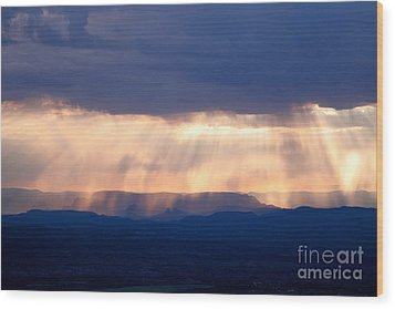 Wood Print featuring the photograph Crepuscular Light Rays Just After Sunrise On Sedona Arizona As Seen From Jerome by Ron Chilston