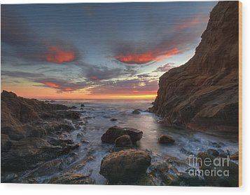 Crescent Bay Cove At Dusk Wood Print by Eddie Yerkish