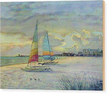 Crescent Beach Hobies At Sunset Wood Print by Shawn McLoughlin