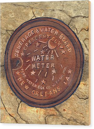 Crescent City Water Meter Wood Print by Elaine Hodges