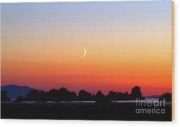 Crescent Moon At Sunset  - Lummi Bay Wood Print by Douglas Taylor
