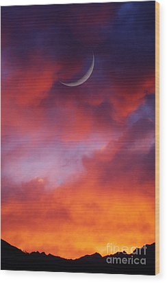 Wood Print featuring the photograph Crescent Moon In Purple by Joseph J Stevens