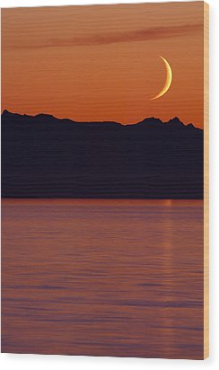 Crescent Moon Wood Print by Jim Lundgren