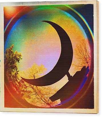 Crescent Moon Over Eureka Springs Wood Print by Garry McMichael