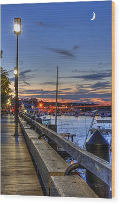Crescent Moon Over Newburyport Harbor Wood Print by Joann Vitali