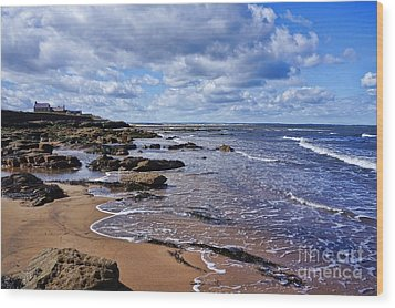 Cresswell Beach And Rocks - Northumberland Coast  Wood Print