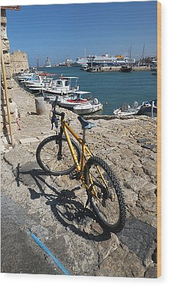 Crete Bicycle Wood Print by John Jacquemain