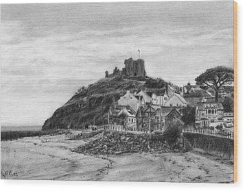 Criccieth Beach Wales Uk Wood Print