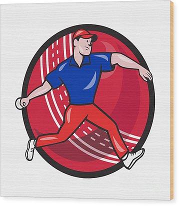 Cricket Bowler Bowling Ball Cartoon Wood Print by Aloysius Patrimonio