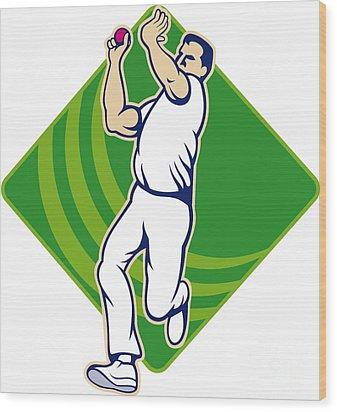Cricket Bowler Bowling Ball Front Wood Print by Aloysius Patrimonio