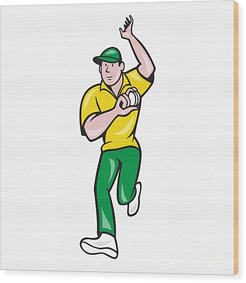 Cricket Fast Bowler Bowling Ball Front Isolated Wood Print by Aloysius Patrimonio