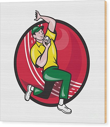 Cricket Fast Bowler Bowling Ball Side Wood Print by Aloysius Patrimonio