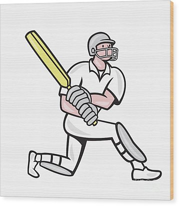 Cricket Player Batsman Batting Kneel Cartoon Wood Print by Aloysius Patrimonio