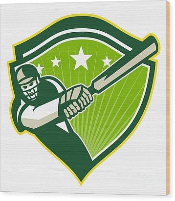 Cricket Player Batsman Star Crest Retro Wood Print by Aloysius Patrimonio