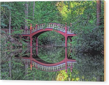 Crim Dell Bridge In Summer Wood Print by Jerry Gammon