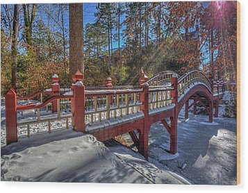 Crim Dell Bridge William And Mary Wood Print by Jerry Gammon