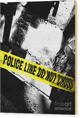 Crime Scene Wood Print by Olivier Le Queinec