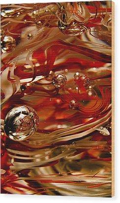 Crimson And Gray Glass Macro Ws6 Wood Print by David Patterson