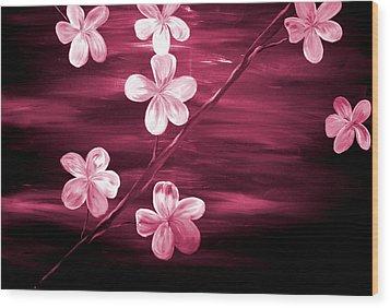 Crimson Cherry Blossom Wood Print by Mark Moore