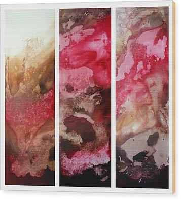 Crimson Cream Original Painting Madart Wood Print by Megan Duncanson
