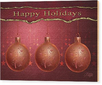 Wood Print featuring the digital art Crimson Ornaments by Arline Wagner