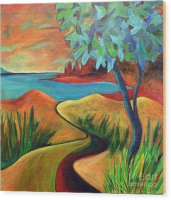 Crimson Shore Wood Print