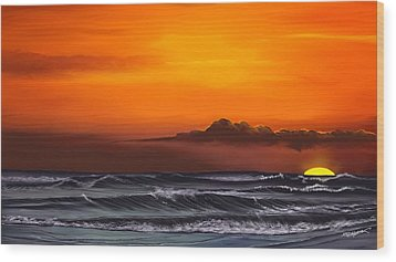 Wood Print featuring the drawing Crimson Sunset by Anthony Fishburne