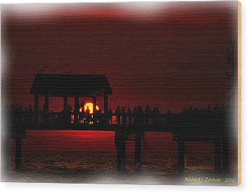 Wood Print featuring the digital art Crimson Sunset Painting by Richard Zentner