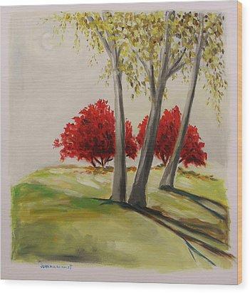 Crimson Twins Wood Print by John Williams