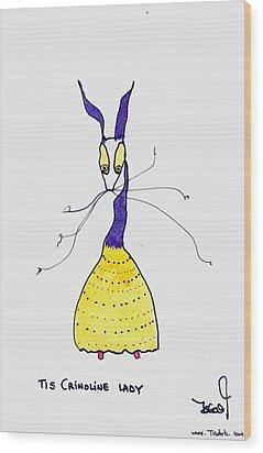 Crinoline Lady Wood Print by Tis Art