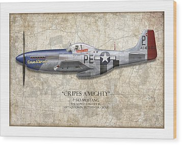 Cripes A Mighty P-51 Mustang - Map Background Wood Print by Craig Tinder