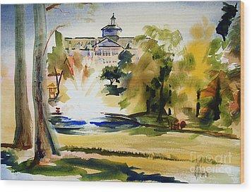 Crisp Water Fountain At The Baptist Home II Wood Print by Kip DeVore