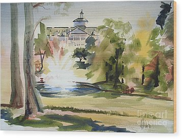 Crisp Water Fountain At The Baptist Home  Wood Print by Kip DeVore