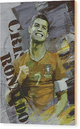 Cristiano Ronaldo Wood Print by Corporate Art Task Force