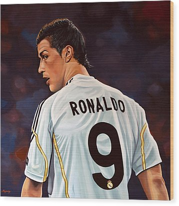 Cristiano Ronaldo Wood Print by Paul Meijering