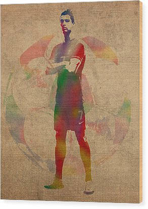 Cristiano Ronaldo Soccer Football Player Portugal Real Madrid Watercolor Painting On Worn Canvas Wood Print