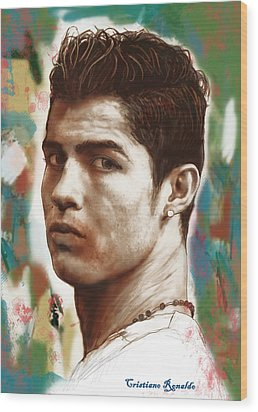 Cristiano Ronaldo Stylised Pop Art Drawing Potrait Poster Wood Print by Kim Wang