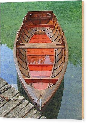 Croatian Rowboat Wood Print by Ramona Johnston