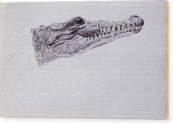 Croc Sketch Wood Print