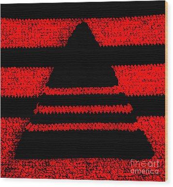 Crochet Pyramid Digitally Manipulated Wood Print by Kerstin Ivarsson