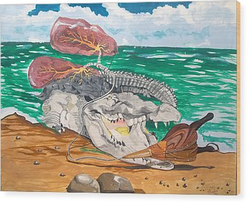 Wood Print featuring the painting Crocodile Emphysema by Lazaro Hurtado