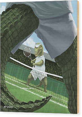 Crocodiles Playing Tennis At Wimbledon  Wood Print